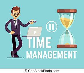 Time management business concept with cartoon businessman and clock. Vector illustration