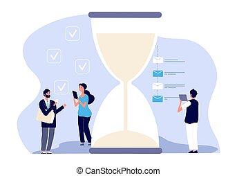 Time management. Businessman assistants vector concept. Effective business planning, successful teamwork solution