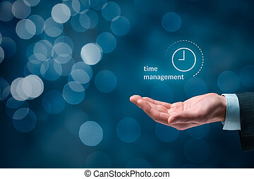 Businessman give you time management solution. Businessman hand with symbol of time management, bokeh in background.