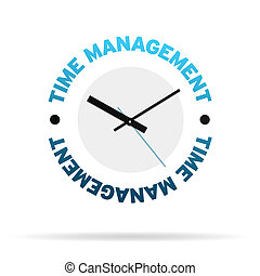 Clock with the words time management on white background.