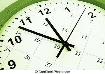 Time management - Clock face and calendar composite