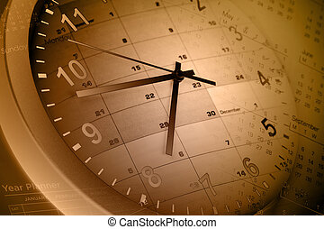 Time management - Clock face and calendar pages