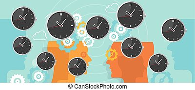 time management clock flying with gear business concept