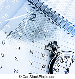Time management - Clocks, calendar and diary pages