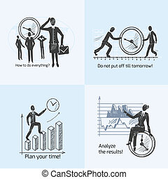 Time management composition sketch icons set with working people isolated vector illustration
