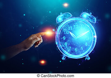 Time management concept, alarm clock hologram image. ...