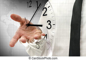 Time management concept - Businessman navigating virtual ...