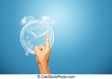 Time management concept, Close-up hand stops the clock hands. Time is fleeting, dead line, the passage of time. Copy space.