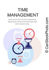 Time Management Concept Flat  Background. Vector Illustration