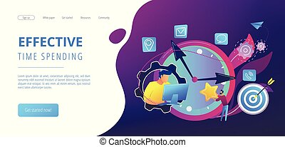 Time management concept landing page.
