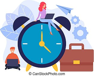 Time management concept. Vector flat cartoon graphic design isolated illustration