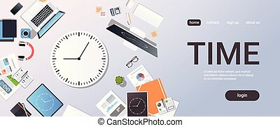Time management deadline business timing concept top angle view desktop laptop smartphone tablet screen clock paper documents office stuff horizontal copy space