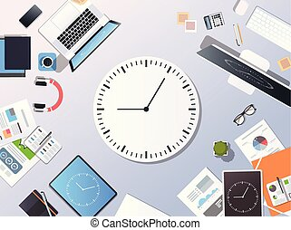 Time management deadline business timing concept top angle view desktop laptop smartphone tablet screen clock paper documents office stuff horizontal