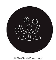 Time management decision black vector concept icon. Time management decision flat illustration, sign
