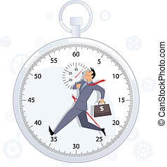 Energetic businessman marching on a stop-watch background, vector illustration, no transparencies
