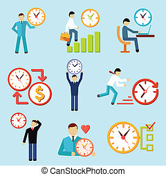 Time management flat icons - Decorative set of flat time ...