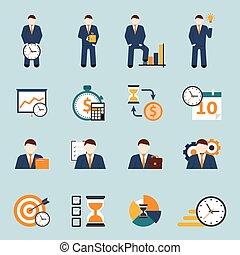 Time management flat icons set