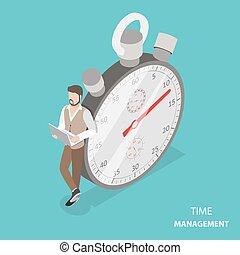 Time management flat isometric vector concept. Stylish young...