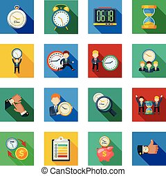 Time Management Flat Shadow Icons Set
