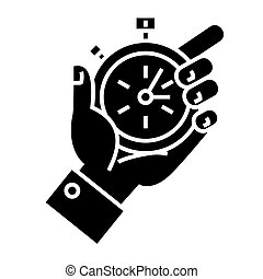 time management - hand timer icon, vector illustration, black sign on isolated background