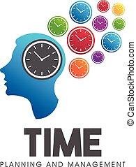 Time management head think. Vector logo symbol