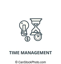 Time management, hourglass vector line icon, linear concept, outline sign, symbol