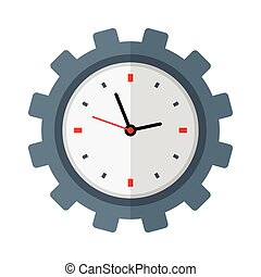 Time management icon. Clock inside gear.