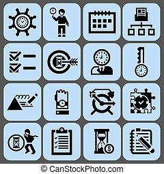 Time management icons black set