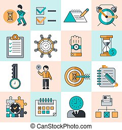 Time management work productivity successful manager flat line icons set isolated vector illustration