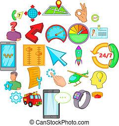 Time management icons set, cartoon style
