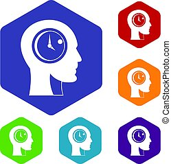 Time management icons set hexagon
