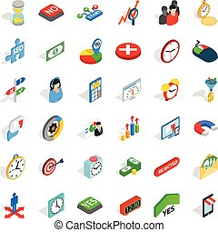 Time management icons set, isometric style