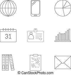 Time management icons set, outline style