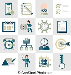 Time management icons set - Time management leadership...
