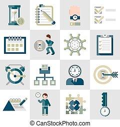 Time management icons set - Time management leadership ...