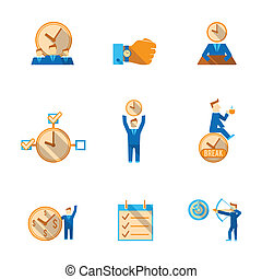 Time management icons set - Effective goals achieving time...