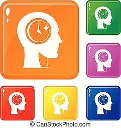 Time management icons set vector color