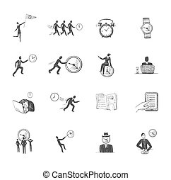 Time management icons sketch