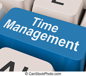 Time Management Key Shows Organizing Schedule Online - Time...