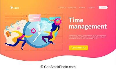 Time management landing page template.