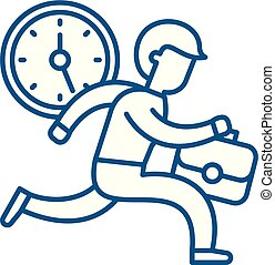Time management line icon concept. Time management flat vector symbol, sign, outline illustration.
