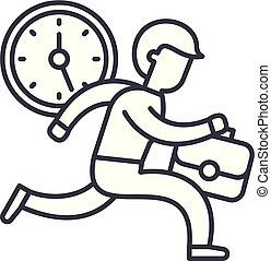 Time management line icon concept. Time management vector linear illustration, symbol, sign