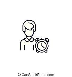 Time management linear icon concept. Time management line vector sign, symbol, illustration.