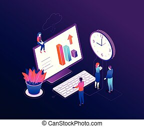 Time management - modern colorful isometric vector illustration