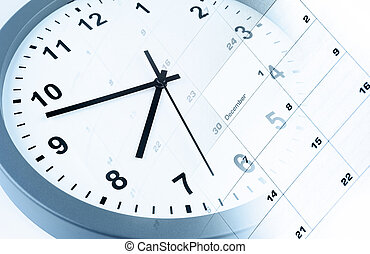 Time management - Clock face and calendar composite