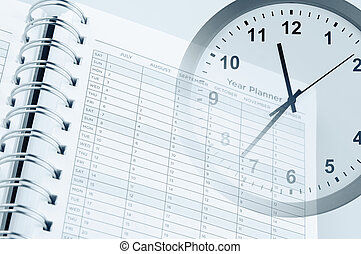 Time management - Clock face and year planner page