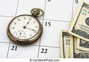 Time Management - A pocket watch with hundred dollar bills...