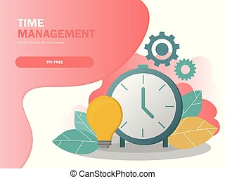 Time management planning and control concept composition poster vector