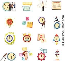 Time Management Retro Cartoon Icons Set