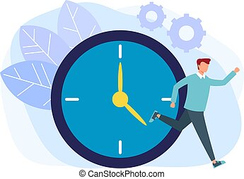 Time management running concept. Vector flat cartoon graphic design isolated illustration